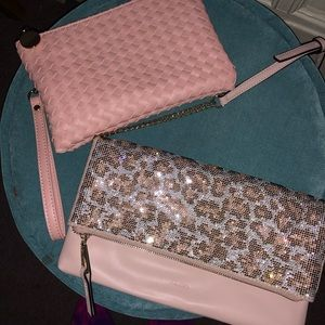 Pink woven wristlet and Leopard Crossbody